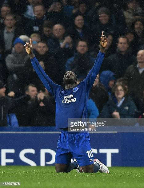Romelu Lukaku of Everton celebrates after scoring his team's second goal from the penalty spot during the UEFA Europa League Round of 16 first leg...