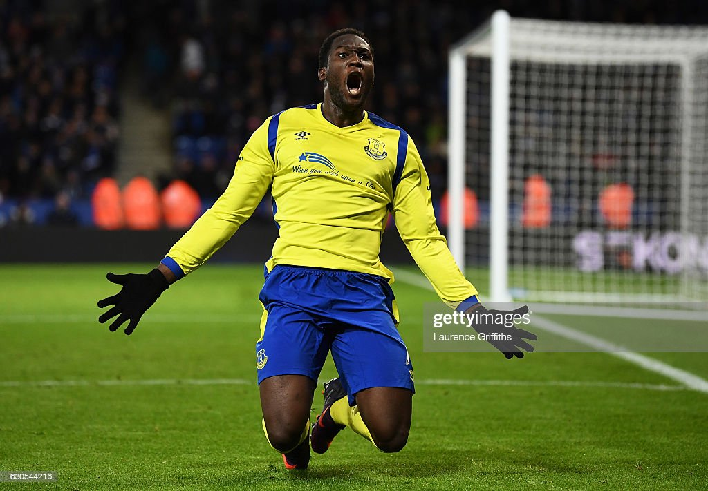 Romelu Lukaku of Everton celebrates after scoring his team's second goal during the Premier League match between Leicester City and Everton at The King Power Stadium on December 26, 2016 in Leicester, England.