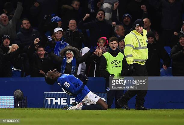 Romelu Lukaku of Everton celebrates as he scores their first and equalising goal during the FA Cup Third Round match between Everton and West Ham...