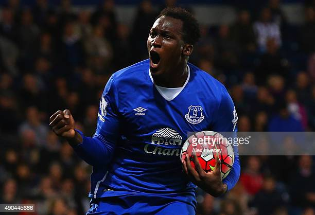 Romelu Lukaku of Everton celebrates as he scores their first goal during the Barclays Premier League match between West Bromwich Albion and Everton...