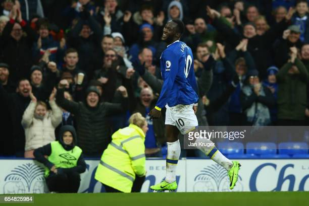 Romelu Lukaku of Everton celebrates as he scores their fourth goal during the Premier League match between Everton and Hull City at Goodison Park on...