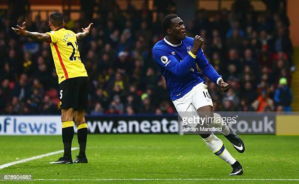 Romelu Lukaku of Everton celebrates as he scores their second goal during the Premier League match between Watford and Everton at Vicarage Road on...