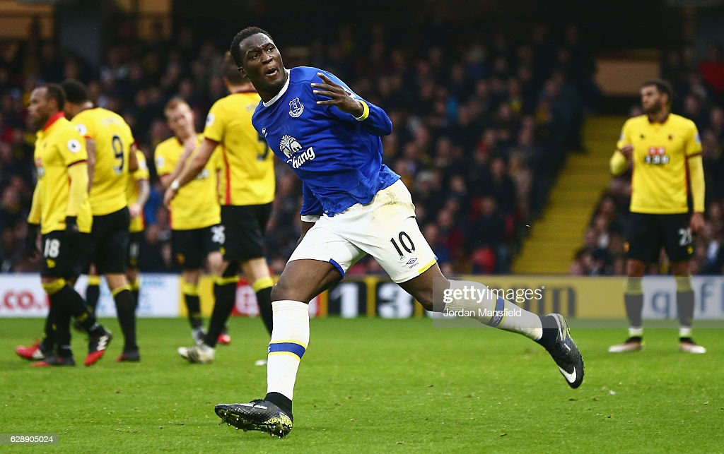 Romelu Lukaku of Everton (10) celebrates as he scores their second goal during the Premier League match between Watford and Everton at Vicarage Road on December 10, 2016 in Watford, England.
