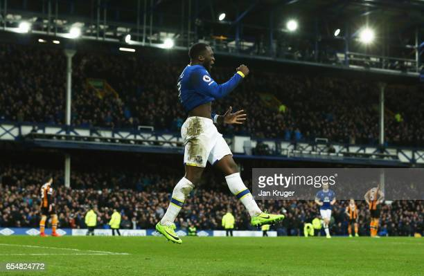 Romelu Lukaku of Everton celebrates as he scores their third goal during the Premier League match between Everton and Hull City at Goodison Park on...