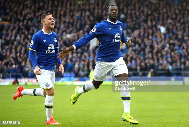 Romelu Lukaku of Everton celebrates scoring his sides first goal during the Premier League match between Everton and AFC Bournemouth at Goodison Park...