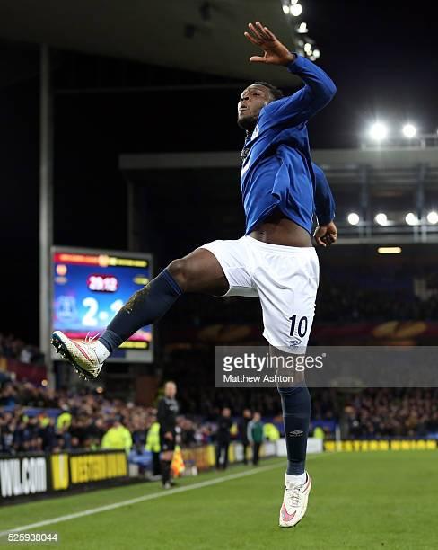 Romelu Lukaku of Everton celebrates scoring his side's second goal