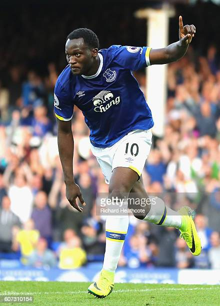 Romelu Lukaku of Everton celebrates scoring his sides third goal during the Premier League match between Everton and Middlesbrough at Goodison Park...