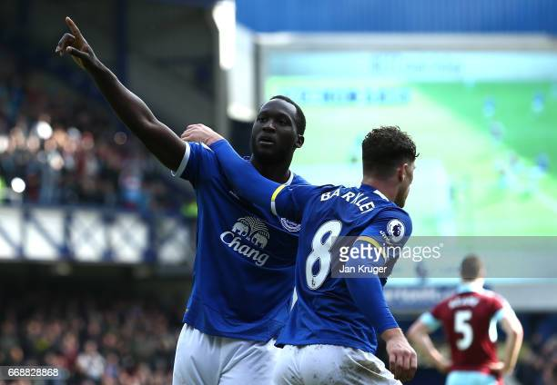 Romelu Lukaku of Everton celebrates scoring his sides third goal with Ross Barkley of Everton during the Premier League match between Everton and...