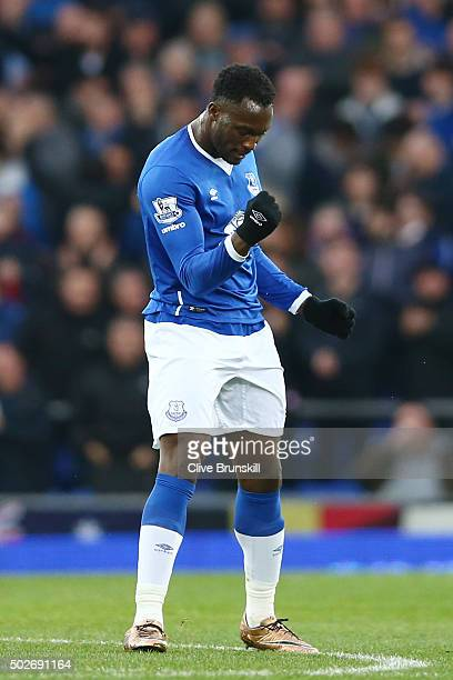 Romelu Lukaku of Everton celebrates scoring his team's first goal during the Barclays Premier League match between Everton and Stoke City at Goodison...