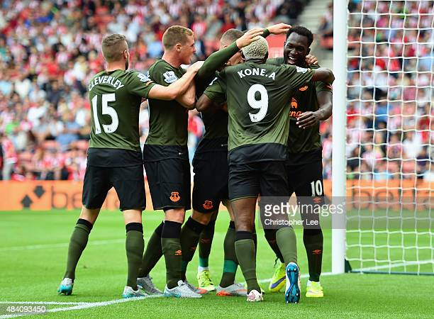 Romelu Lukaku of Everton celebrates scoring his team's first goal with his team mates during the Barclays Premier League match between Southampton...