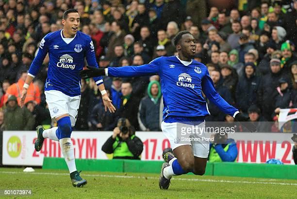 Romelu Lukaku of Everton celebrates scoring his team's first goal with his team mate Ramiro Funes Mori during the Barclays Premier League match...