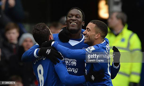 Romelu Lukaku of Everton celebrates scoring his team's first goal with his team mates Bryan Oviedo and Aaron Lennon during the Barclays Premier...