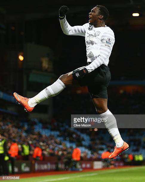 Romelu Lukaku of Everton celebrates scoring his team's third goal during the Barclays Premier League match between Aston Villa and Everton at Villa...