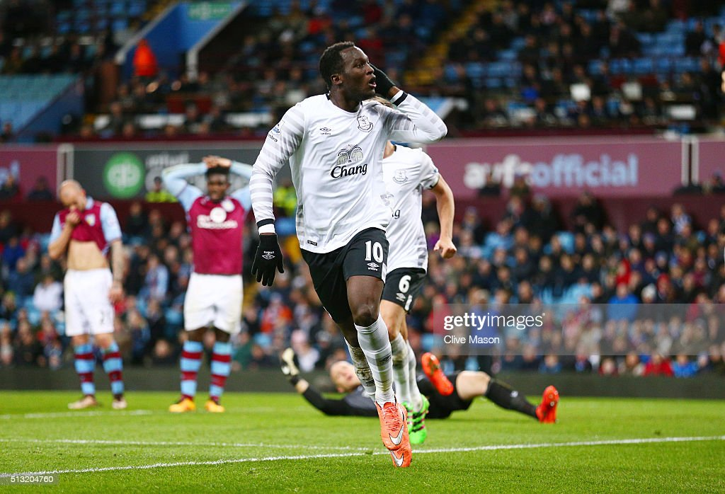 Romelu Lukaku of Everton celebrates scoring his team's third goal during the Barclays Premier League match between Aston Villa and Everton at Villa Park on March 1, 2016 in Birmingham, England.