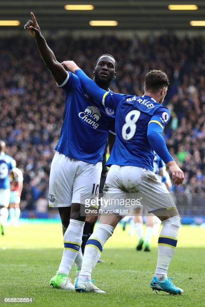 Romelu Lukaku of Everton celebrates scoring his team's third goal to make the score 31 with Ross Barkley during the Premier League match between...
