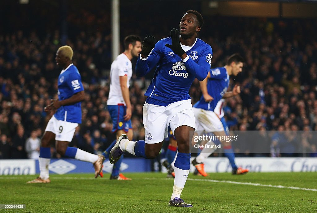 Romelu Lukaku of Everton celebrates scoring the equalising goal during the Barclays Premier League match between Everton and Crystal Palace at Goodison Park on December 7, 2015 in Liverpool, England.