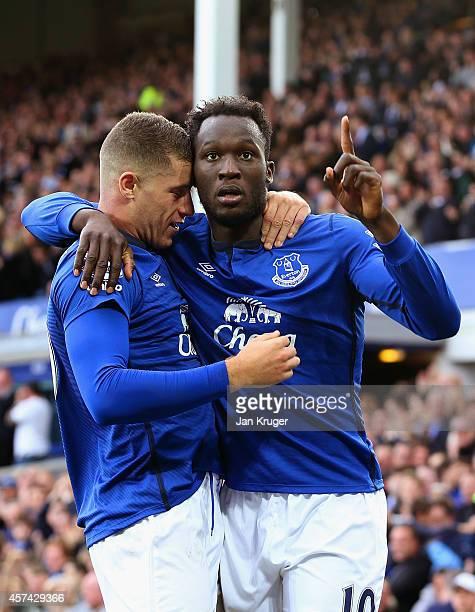 Romelu Lukaku of Everton celebrates scoring their second goal with Ross Barkley of Everton during the Barclays Premier League match between Everton...