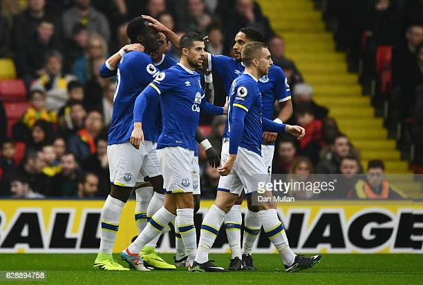 Romelu Lukaku of Everton celebrates with team mates as he scores the first goal during the Premier League match between Watford and Everton at...