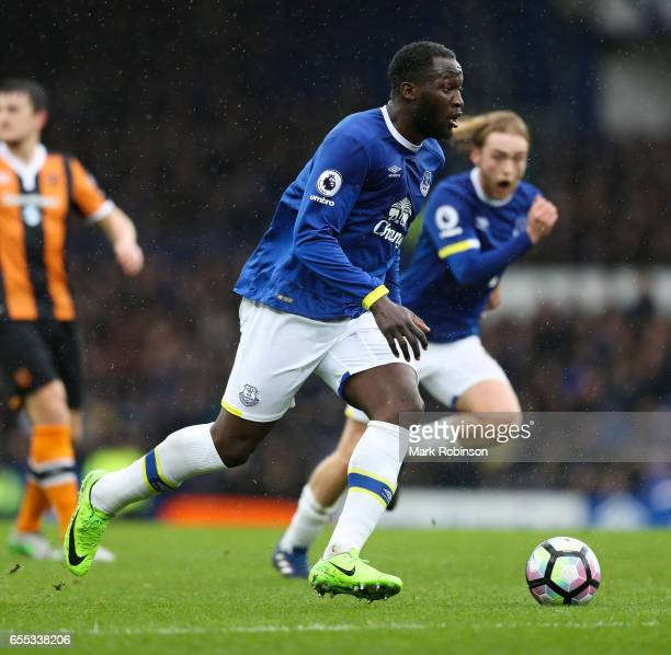 Romelu Lukaku of Everton during the Premier League match between Everton and Hull City at Goodison Park on March 18 2017 in Liverpool England