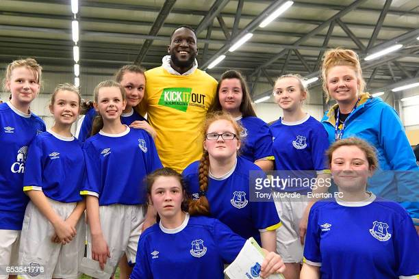 Romelu Lukaku of Everton joins in a Kick it Out Event at USM Finch Farm on March 14, 2017 in Liverpool, England.