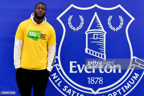 Romelu Lukaku of Everton joins on a Kick it Out Event at USM Finch Farm on March 14, 2017 in Liverpool, England.
