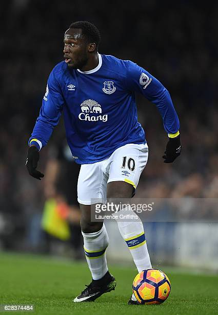 Romelu Lukaku of Everton looks on during the Premier League match between Everton and Manchester United at Goodison Park on December 4 2016 in...