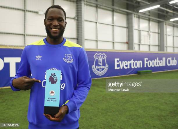 Romelu Lukaku of Everton pictured with the EA SPORTS Player of the Month award at USM Finch Farm on March 30 2017 in Halewood England