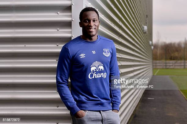 Romelu Lukaku of Everton poses during a photo shoot at Finch Farm on March 15, 2016 in Halewood, England.