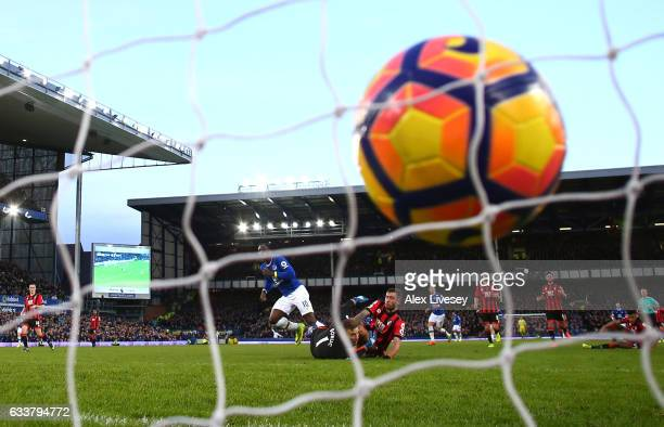 Romelu Lukaku of Everton scores his sides fifth goal during the Premier League match between Everton and AFC Bournemouth at Goodison Park on February...
