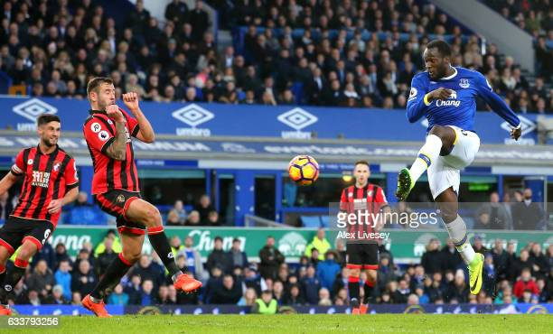 Romelu Lukaku of Everton scores his sides fourth goal during the Premier League match between Everton and AFC Bournemouth at Goodison Park on...
