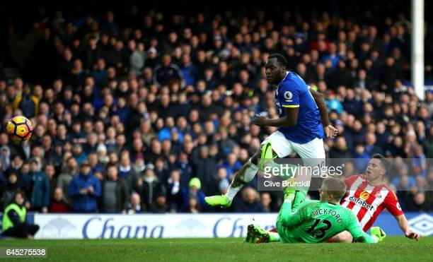 Romelu Lukaku of Everton scores his sides second goal during the Premier League match between Everton and Sunderland at Goodison Park on February 25...
