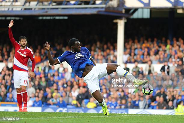 Romelu Lukaku of Everton scores his sides third goal during the Premier League match between Everton and Middlesbrough at Goodison Park on September...