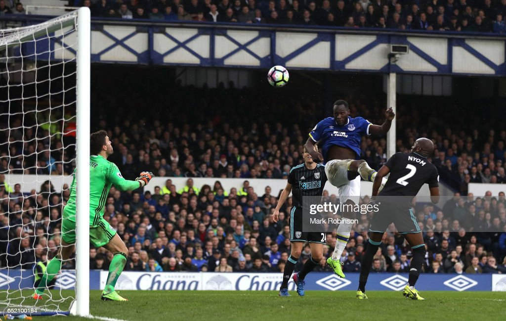 Romelu Lukaku of Everton scores his sides third goal during the Premier League match between Everton and West Bromwich Albion at Goodison Park on March 11, 2017 in Liverpool, England.