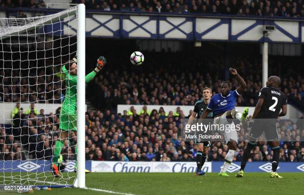 Romelu Lukaku of Everton scores his sides third goal during the Premier League match between Everton and West Bromwich Albion at Goodison Park on...