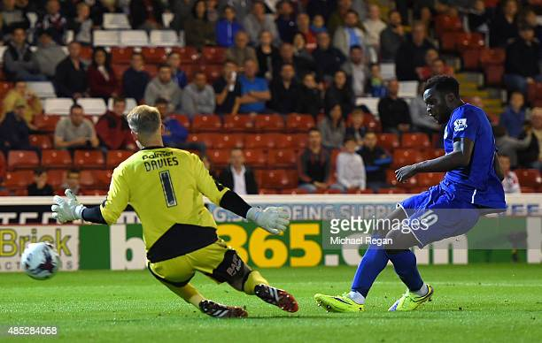 Romelu Lukaku of Everton scores his team's fifth goal during the Capital One Cup second round match between Barnsley and Everton at Oakwell Stadium...