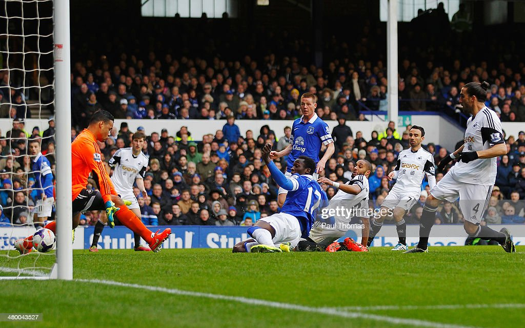 Romelu Lukaku of Everton scores his team's second goal during the Barclays Premier League match between Everton and Swansea City at Goodison Park on March 22, 2014 in Liverpool, England.