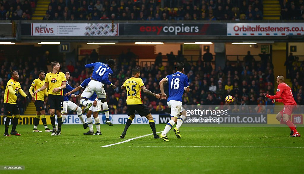 Romelu Lukaku of Everton (10) scores their second goal during the Premier League match between Watford and Everton at Vicarage Road on December 10, 2016 in Watford, England.