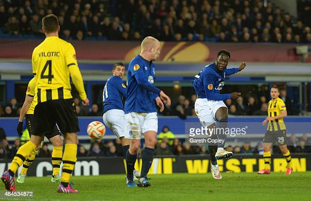 Romelu Lukaku of Everton scores their second goal during the UEFA Europa League Round of 32 match between Everton FC and BSC Young Boys at Goodison...