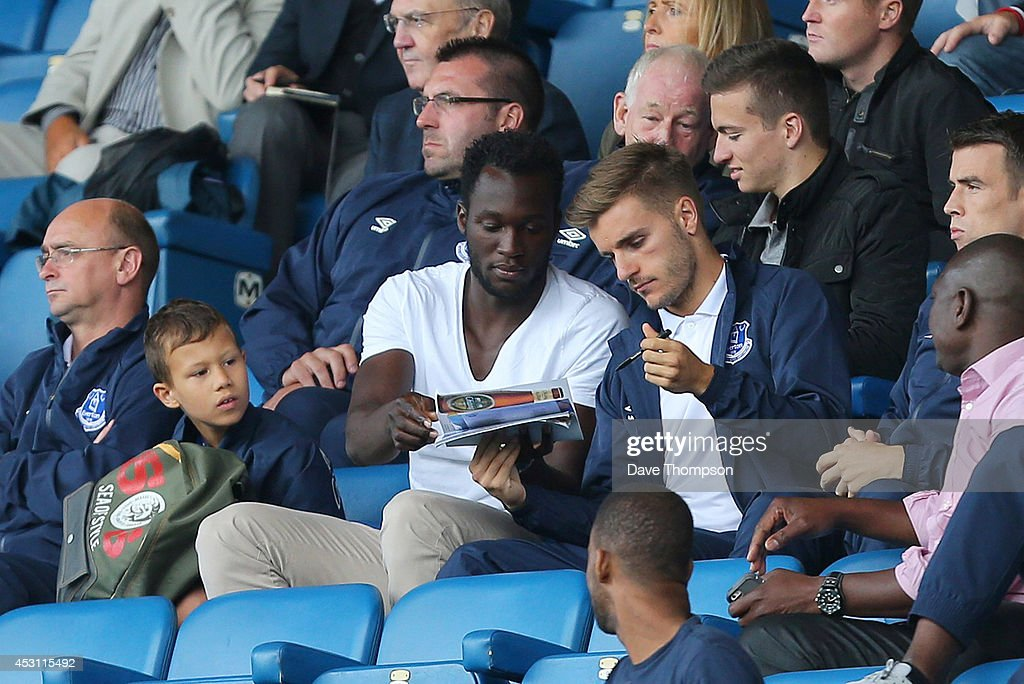 Romelu Lukaku of Everton signs autographs during the Pre-Season Friendly between Everton and Porto at Goodison Park on August 3, 2014 in Liverpool, England.