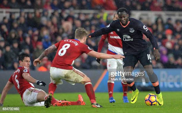Romelu Lukaku of Everton takes on Adam Clayton of Middlesbrough during the Premier League match between Middlesbrough and Everton at Riverside...