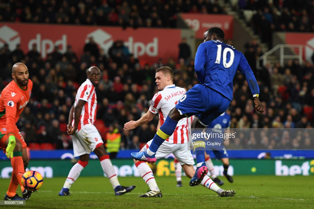 Romelu Lukaku of Everton watches as the ball flies in to the net deflected by Ryan Shawcross of Stoke City during the Premier League match between Stoke City and Everton at Bet365 Stadium on February 1, 2017 in Stoke on Trent, England.