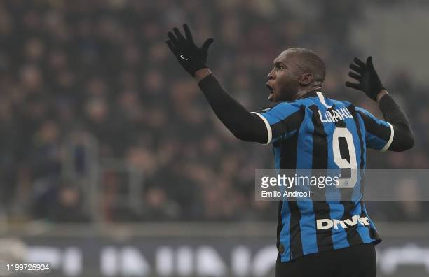 Romelu Lukaku of FC Internazionale celebrate during the Serie A match between FC Internazionale and AC Milan at Stadio Giuseppe Meazza on February 9...