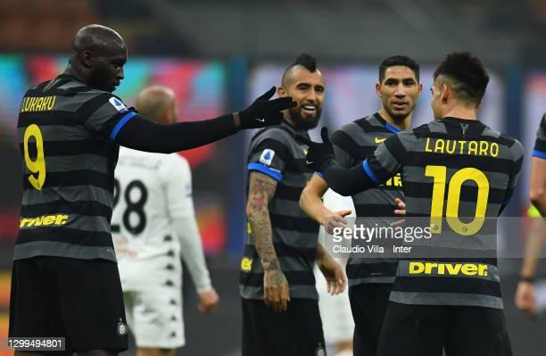 Romelu Lukaku of FC internazionale celebrate with Lautaro Martinez after scoring the goal during the Serie A match between FC Internazionale and...