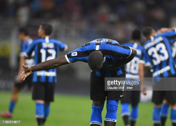Romelu Lukaku of FC Internazionale celebrates after his goal of 3-0 during the Serie A match between FC Internazionale and US Lecce at Stadio...