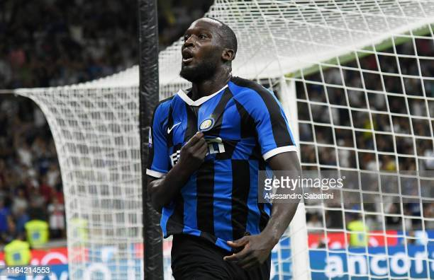 Romelu Lukaku of FC Internazionale celebrates after scoring his team third goal during the Serie A match between FC Internazionale and US Lecce at...