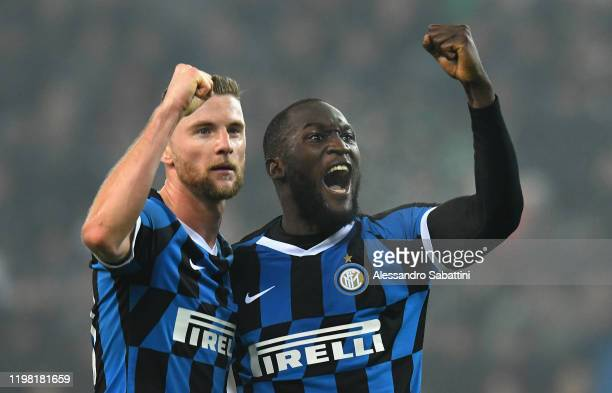 Romelu Lukaku of FC Internazionale celebrates after scoring his team second goal during the Serie A match between Udinese Calcio and FC...