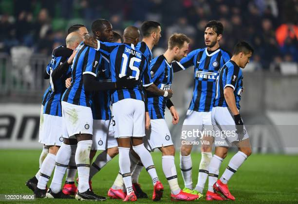 Romelu Lukaku of FC Internazionale celebrates after scoring the second goal during the UEFA Europa League Round of 32 first leg match between PFC...