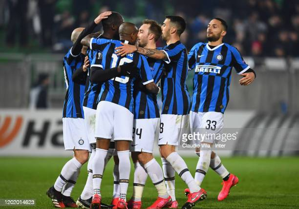 Romelu Lukaku of FC Internazionale celebrates after scoring the second goal of his team during the UEFA Europa League round of 32 first leg match...