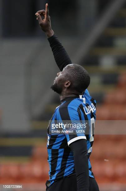 Romelu Lukaku of FC Internazionale celebrates after scoring the second goal of his team during the UEFA Europa League round of 32 second leg match...