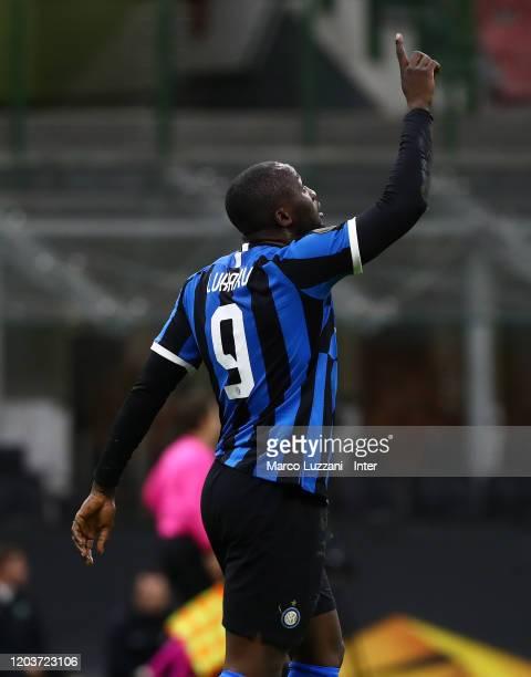 Romelu Lukaku of FC Internazionale celebrates after scoring the goal during the UEFA Europa League round of 32 second leg match between FC...